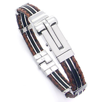 Metal Factory Stainless Steel Rubber Men's Bracelet w/ Double Braided Leather