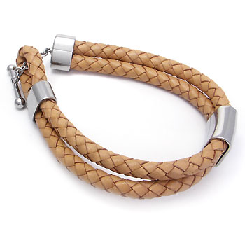 Metal Factory Stainless Steel Braided Leather Toggle Bracelet