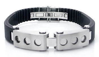 Metal Factory Stainless Steel Rubber Mechanic Men's Bracelet