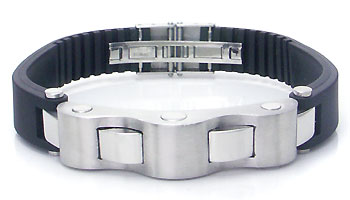 Metal Factory Stainless Steel Rubber Men's Ribbed Bracelet