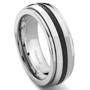 Titanium 8MM Black Cable Ring :  lgbt wedding rings jewelry