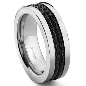 Titanium 8MM Double Black Cable Ring :  lgbt wedding rings jewelry