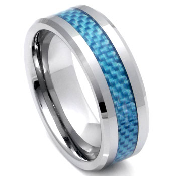Tungsten Carbide Blue Carbon Fiber Ring :  lgbt wedding rings jewelry
