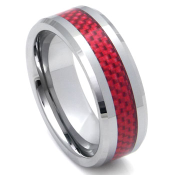 Tungsten Carbide Red Carbon Fiber Ring :  engagement wedding rings jewelry