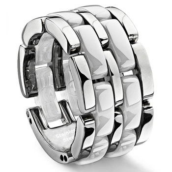 2 Row White Diamond Ceramic Unisex Wedding Ring :  lgbt wedding rings jewelry