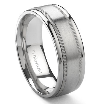 Titanium 8mm Milgrain Wedding Band Ring :  wedding lgbt lesbian pride