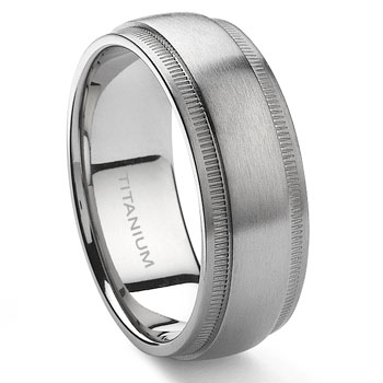Titanium 8mm Milgrain Wedding Band Ring :  lgbt wedding rings lesbian