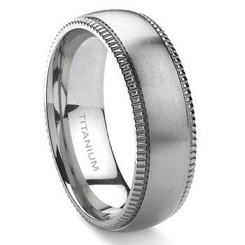 Titanium 8mm Milgrain Wedding Band Ring