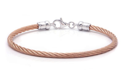 Metal Factory Stainless Steel Rose Gold Cable Rope Sterling Silver Bangle