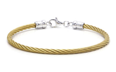 Metal Factory Stainless Steel Golden Cable Rope Sterling Silver Bangle