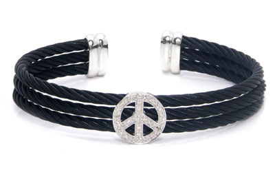 Stainless Steel Cable Rope Peace Sign Diamond Silver Bangle
