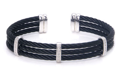Metal Factory Stainless Steel Cable Rope Diamond Silver Bangle