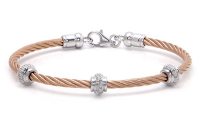 Metal Factory Rose Gold Cable Rope Diamond Silver Bangle