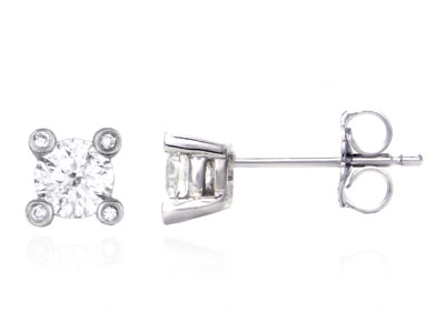 Metal Factory 14K White Gold Round Diamond Stud Earrings w/ Diamond Prongs