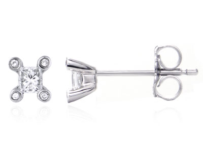 Metal Factory 14K White Gold Princess Diamond Stud Earrings w/ Diamond Prongs