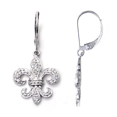 14K White Gold Fleur-de-Lis Diamond Dangle Earrings