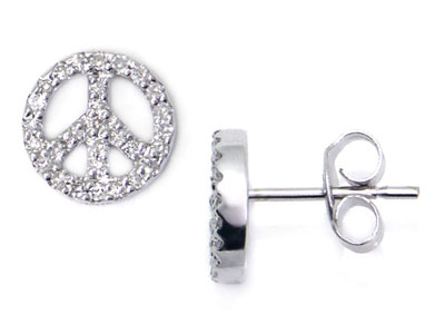 jewelry gold little sign stud peace everyday tokens earrings small