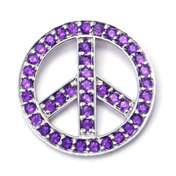 14K White Gold Amethyst Peace Sign Pendant