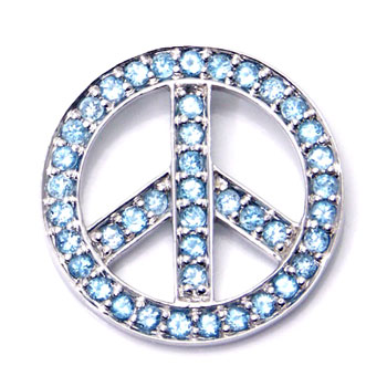 Metal Factory 14K White Gold Blue Topaz Peace Sign Pendant