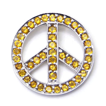 Metal Factory 14K White Gold Citrine Peace Sign Pendant