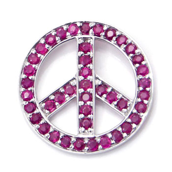Metal Factory 14K White Gold Ruby Peace Sign Pendant