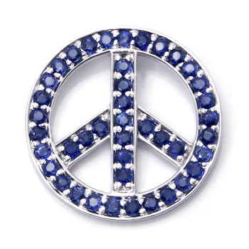 14K White Gold Sapphire Peace Sign Pendant