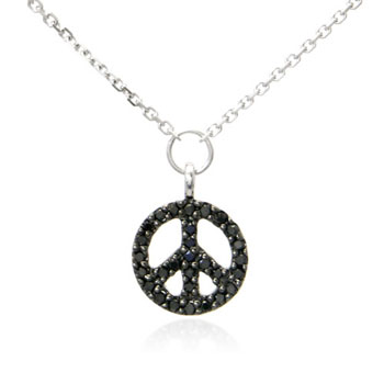 14K White Gold Black Diamond Peace Sign Pendant w/ Necklace