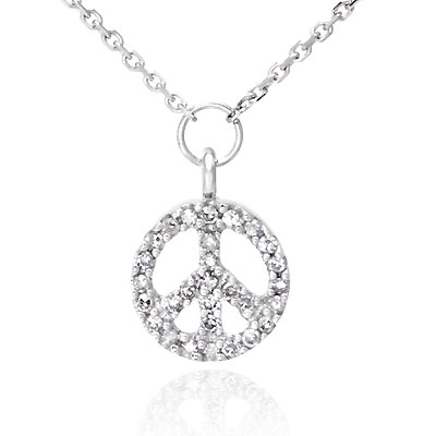 14K White Gold Diamond Peace Sign Pendant w/ Necklace