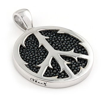 Metal Factory Sterling Silver Hematite Organic Stingray Leather Peace Sign Pendant