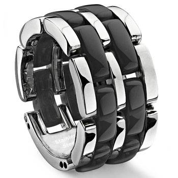 2 Row Black Diamond Ceramic Unisex Wedding Ring