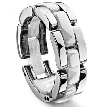 1 Row white Diamond Ceramic Unisex Wedding Ring