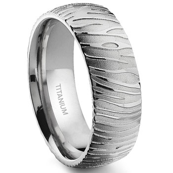 7 Degree TIGER Skin Titanium Band Ring :  lgbt wedding rings jewelry