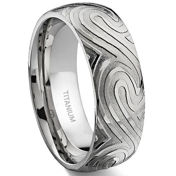 7 Degree OCEAN SWIRLS Titanium Band Ring :  engagement wedding rings jewelry