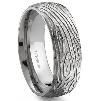 7 Degree WOOD GRAIN Titanium Band Ring :  lgbt wedding rings jewelry