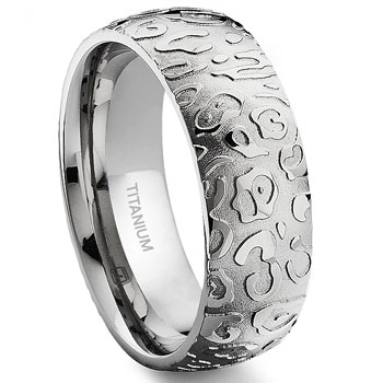7 Degree JAGUAR SKIN Titanium Band Ring :  lgbt wedding rings jewelry