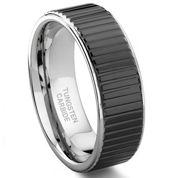 COIN EDGE Tungsten Wedding Band Ring :  engagement wedding rings jewelry