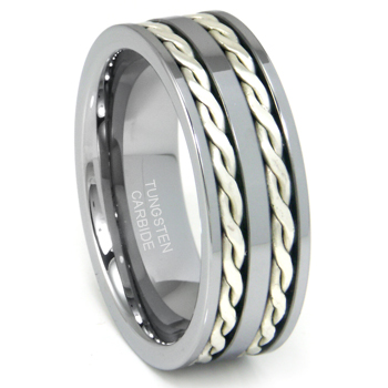 Tungsten Carbide Silver Rope Wedding Band Ring :  lgbt rings jewelry lesbian