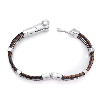 Stainless Steel Rubber Men's Bracelet w/ Double Braided Leather