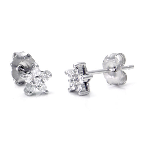 14K White Gold Star Diamond Stud Earrings