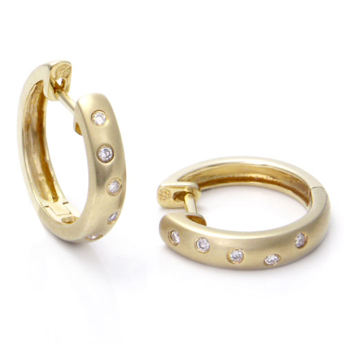 14K Gold Scattered Bezel Diamond Hoop Earrings