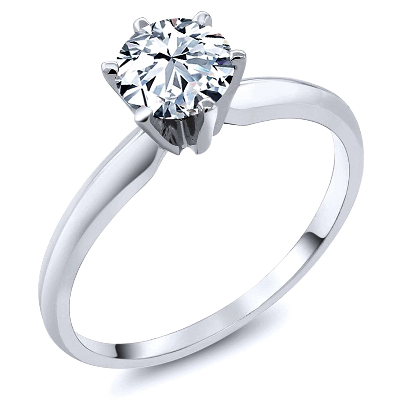 Sterling Silver Cubic Zirconia Solitaire 1.25 Carat tw Round Cut 6-Prong Set CZ Engagement Ring