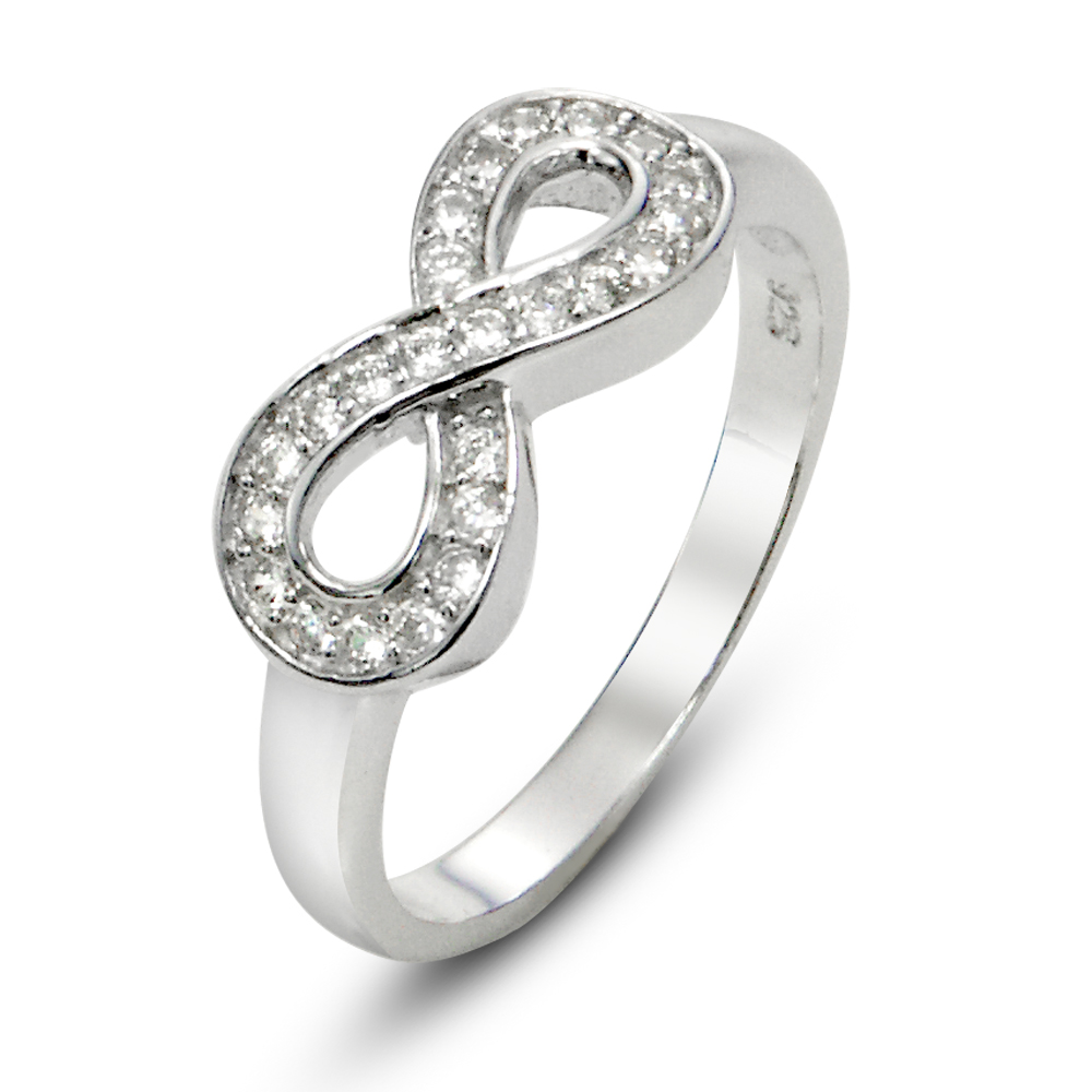 Sterling Silver Infinity Symbol CZ Wedding Ring