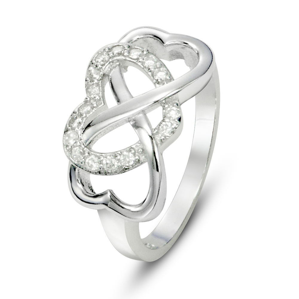 Sterling Silver Infinity & Heart Symbol CZ Wedding Ring
