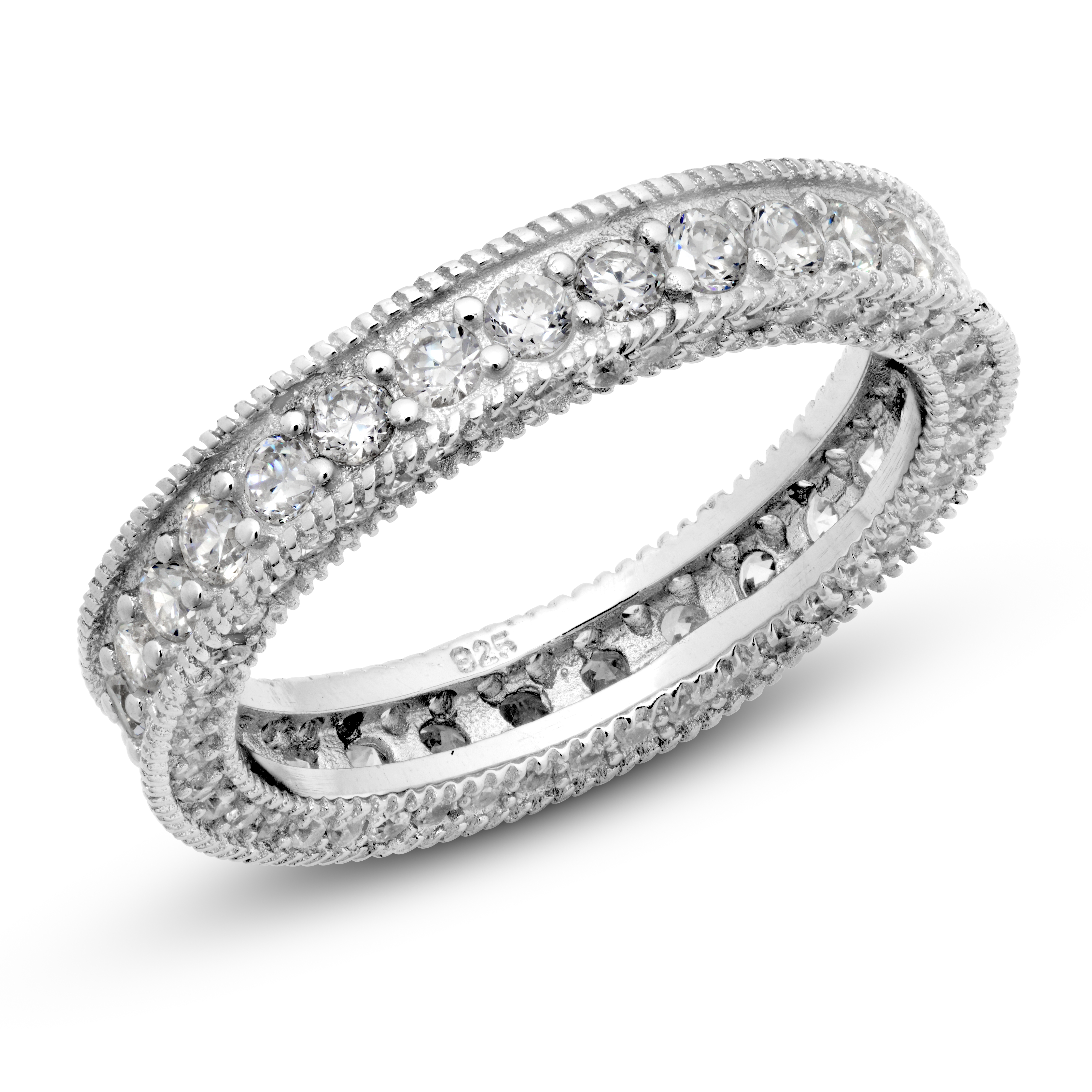 925 Sterling Silver Cubic Zirconia CZ Vintage Milgrain Eternity Band Ring