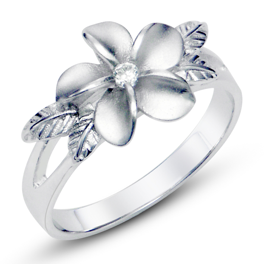 925 Sterting Silver Plumeria Cubic Zirconia CZ w/ Maile Leaf Hawaiian Flower Band Ring