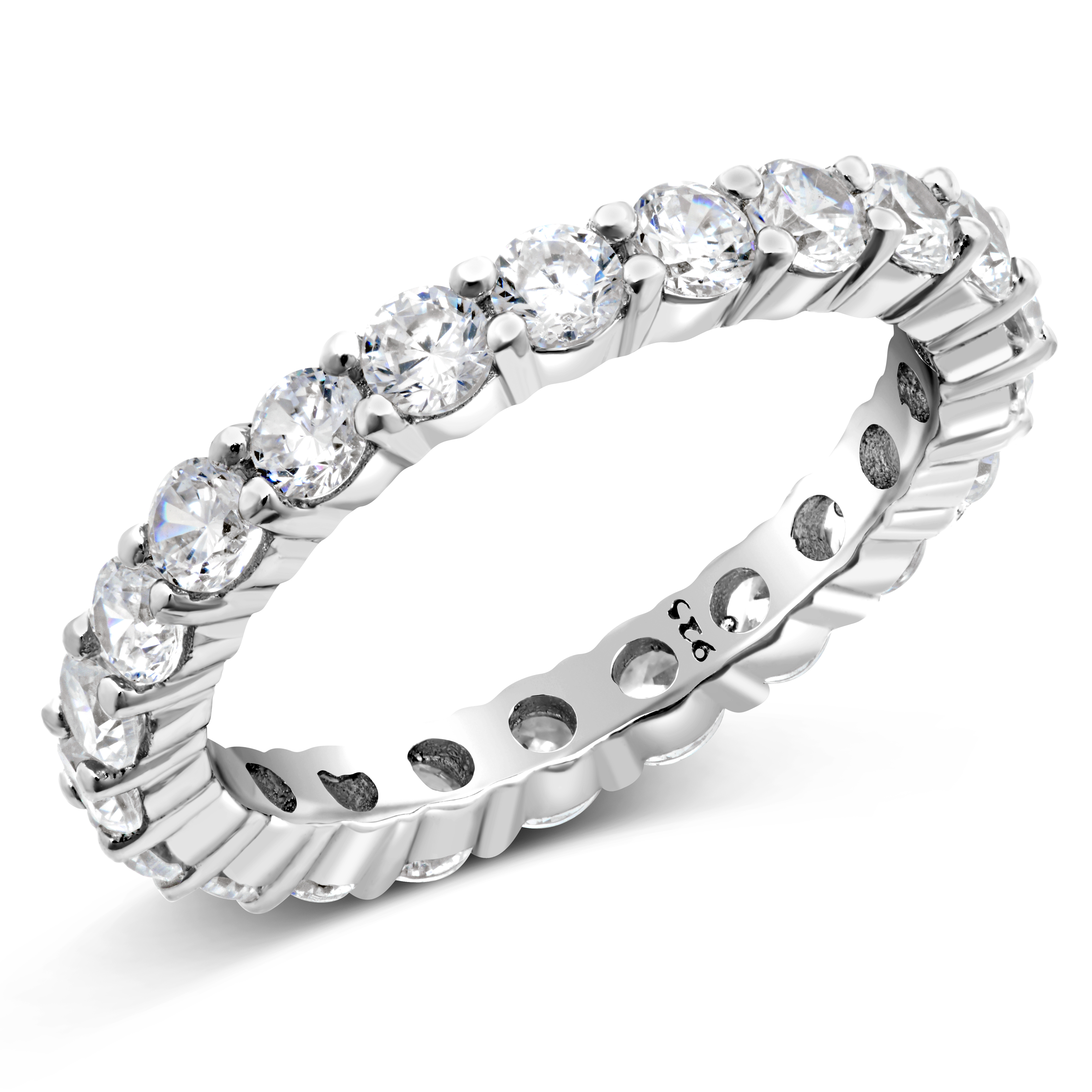 925 Sterling Silver Cubic Zirconia CZ Eternity Band Ring
