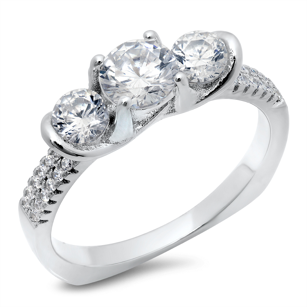 925 Sterling Silver 3-Stone Cubic Zirconia CZ Wedding Engagement Ring