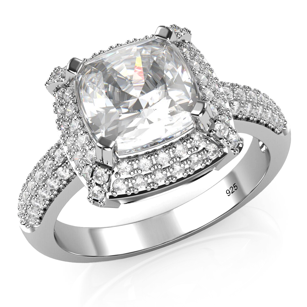 925 Sterling Silver Cushion Cut Cubic Zirconia CZ Wedding Engagement Ring