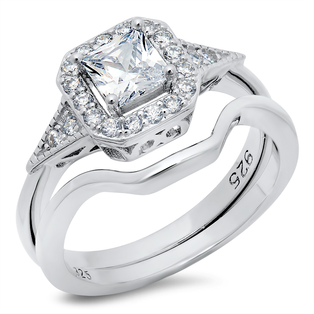 925 Sterling Silver Round Cubic Zirconia CZ Halo Wedding Engagement Ring