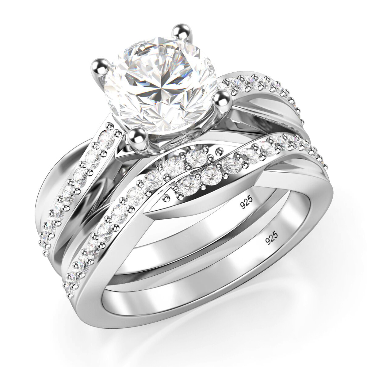 925 Sterling Silver Round Cubic Zirconia CZ Wedding Engagement Ring